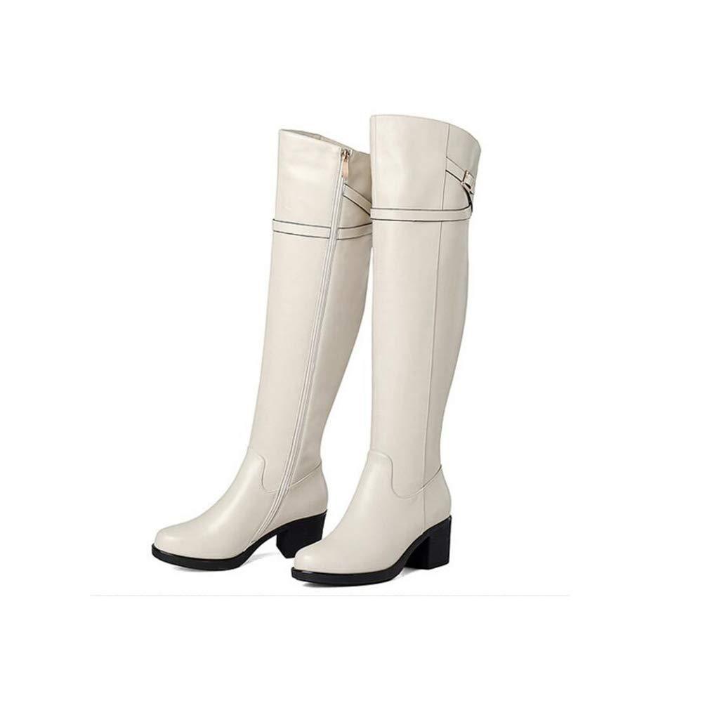 YaXuan Damenstiefel, Herbst Winter Overknee-Stiefel, Ritterstiefel, Gürtelschnalle Warme Baumwollstiefel Beige, (Farbe : Beige, Baumwollstiefel Größe : 39) 96192a