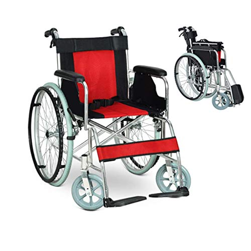 - A-MUZI Self-Propelled Wheelchair, Lightweight Folding Aluminum Alloy Wheelchair, Portable Elderly Multi-Purpose Trolley, Ergonomic, Suitable for Disabled People,Red1