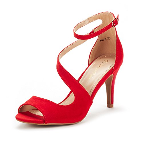DREAM PAIRS Women's NILE Red Satin Fashion Stilettos Open Toe Pump Heel Sandals Size 7.5 B(M) US