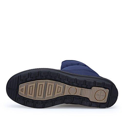 Mujeres cremallera impermeable aire anckle Botas Invierno piel Zapatos al Botines Nieve forradas Azul de de libre KOUDYEN con HRfwd7xnqq