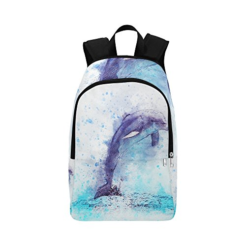 Dolphin Jump Animal Art Abstract Vintage Custom Outdoor Shoulders Bag Fabric Backpack Multipurpose Daypacks Adult