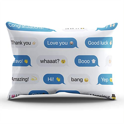 Sms Flat Screen - WEINIYA Bedroom Custom Decor Bubbles Messages with Dialog Words and Throw Pillow Cover Elegant Design One Side Printed Patterning Lumbar 12x24 Inches