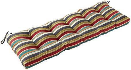 Greendale Home Fashions AZ5812-SUNSET Adobe Stripe 51-inch Outdoor Bench Cushion