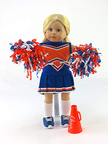 Madame Doll American Girl Alexander - Blue and Orange Cheerleader Outfit Uniform with Dress, Bloomers, Poms, Megaphone, Socks, and Shoes   Fits 18