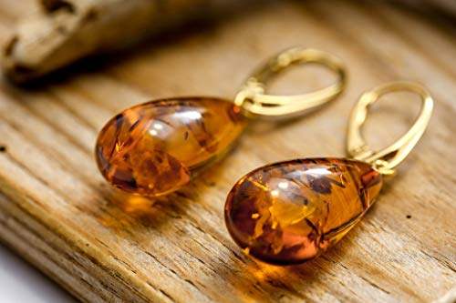 Amber Gold Plated Ring - 100% Natural Amber earrings with gold plated silver