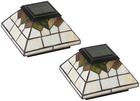 Classy Caps WG322 Wellington Solar Post Cap – 2 Pack Stained Glass