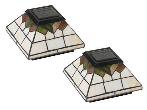 Summer Stained Glass - Classy Caps WG322 Wellington Solar Post Cap - 2 Pack/Stained Glass