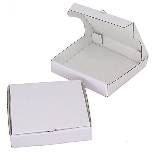 5' White Mini Pizza Boxes (Pack of 8) - Chica and Jo Brand - Square Cardboard Boxes 5 inch - Includes 4'x6' plastic treat bags