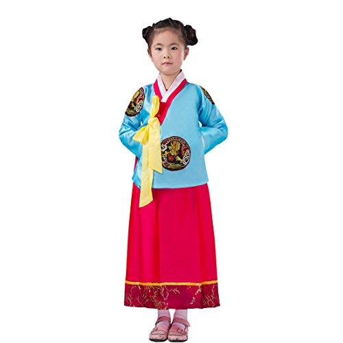 [Ez-sofei Girls Korean Traditional Costume Hanboks Blue&Red 140] (Korean Culture Costume)