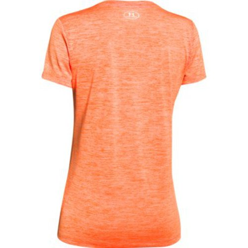 Under Armour Women's Tech Twist V-Neck, Cyber Orange /Metallic Silver, X-Small by Under Armour (Image #3)