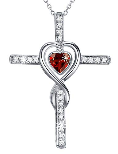 - Love Heart Infinity Cross Necklace Sterling Silver Jewelry Gifts for Women Red Garnet Swarovski Necklace Anniversary Birthday Gifts for Her Wife Daughter Grandma Girlfriend Pendants 20