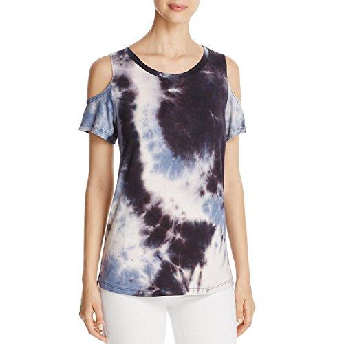 Allen Schwartz Womens Tie-Dye Cold Shoulder T-Shirt B/W (Allen Allen Short Sleeve T-shirt)