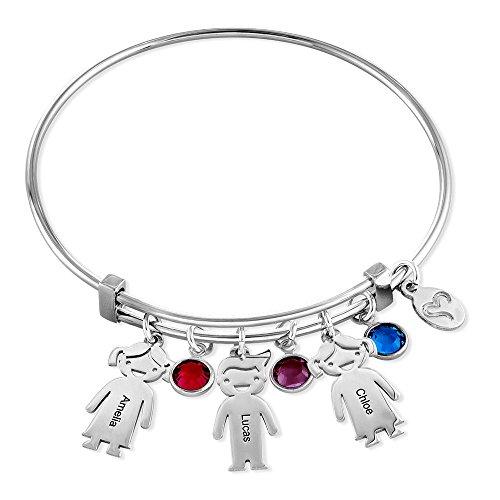 Swarovski Name Bracelet (My Name Necklace Custom Kids Charm and Swarovski birthstone Bracelet-Personalized Jeweler Bracelet -Mothers day Gift)