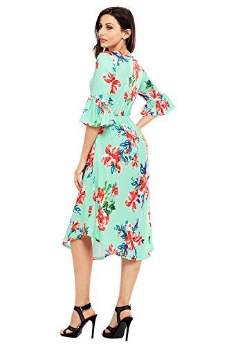Print Bell Women's Green Sleeve Midi XXL Annflat Dress Casual Summer S Floral gq1wnWwtOa