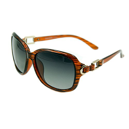 Vhccirt Optic Oversize Oval Polarized Sunglasses Clear Brown Wood Full Frame Anti-Reflective Women Dress - Anti Reflective Sunglasses
