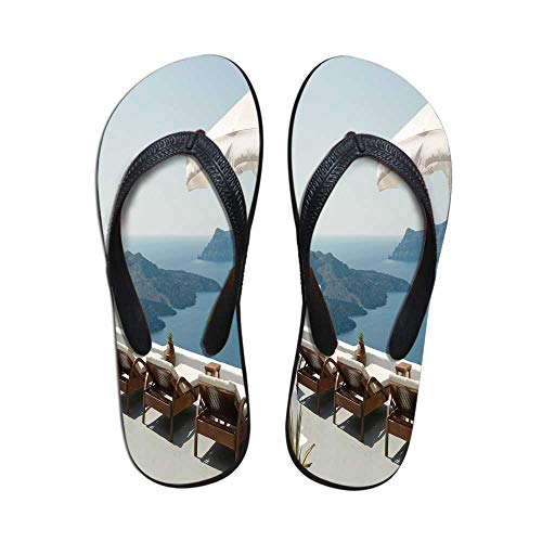 Travel Decor Durable Flip Flops,Sunbathing with Caldera View Terrace Santorini Aegean Greece Print for Leisure Activities,US Size 9