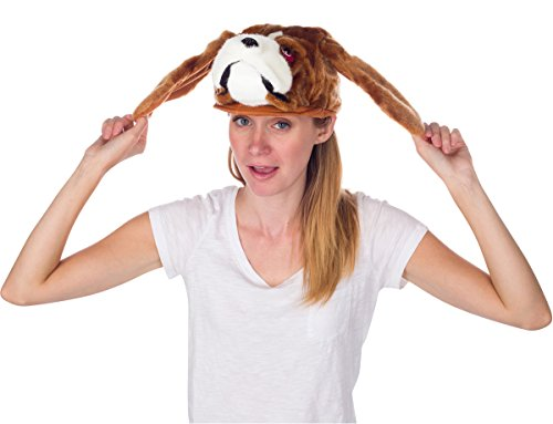 Rittle Furry St. Bernard Dog Animal Hat, Realistic Plush Costume Headwear - One Size (Dog Costumes For Kids)