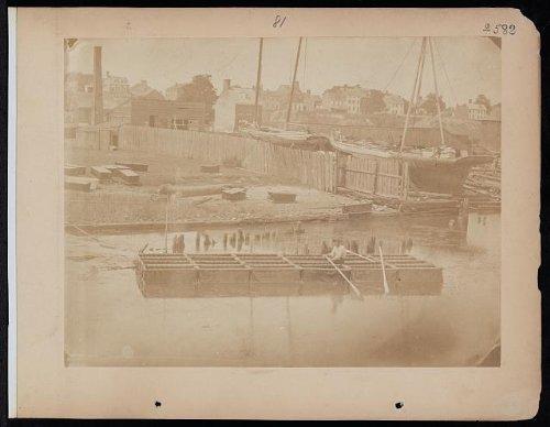 Photo: Man Rowing Raft of Blanket Boats, Potomac River, c1863 . Size: 8x10 -