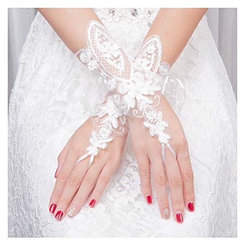 XINAN Women's Lace Tulle Elbow Wrist Length Beaded Applique Fingerless Gloves Sheer Wedding Dress Accessories White
