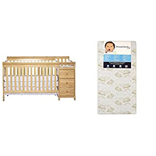 Dream On Me 5 in 1 Brody Convertible Crib with Changer with Dream On Me Spring Crib and Toddler Bed Mattress, Twilight