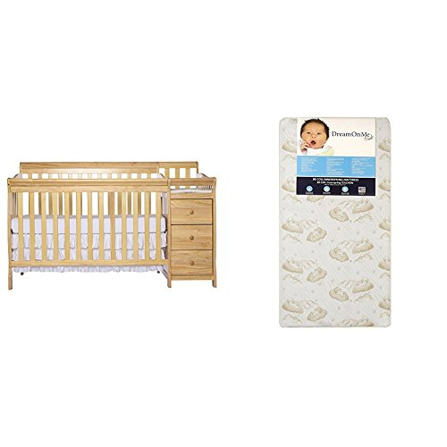 Crib Sleigh 1 (Dream On Me 5 in 1 Brody Convertible Crib with Changer with Dream On Me Spring Crib and Toddler Bed Mattress, Twilight)