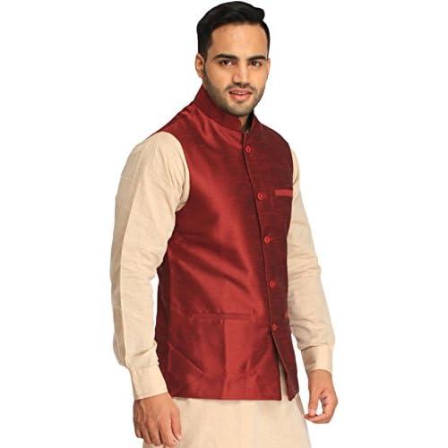 41iqW fEYdL. SS500  - Exotic India Men's Silk Waistcoat