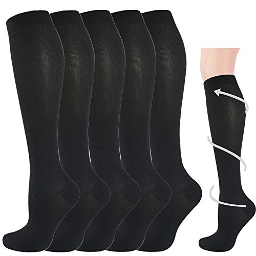 5 Pairs Graduated Medical Compression Socks for Women&Men 20-30mmhg Knee High Sock (Black3-Classic, Large/X-Large(US SIZE))