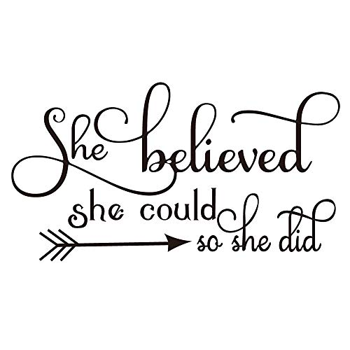 ZSSZ She Believed she Could so she did Wall Decal Home Decor Sayings Inspirational Quote Wall Words Sticker Girl Nursery Bedroom Décor (Decor Inspirational Sayings Wall)