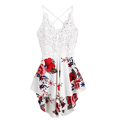 (ABASSKY Jumpsuit for Women, Casual Crochet Lace Panel Bow Tie Back Florals Ladies Summer Shorts Jumpsuit (White, XL))