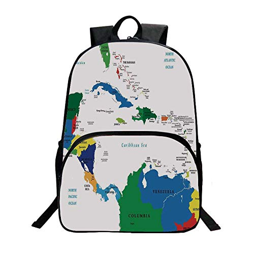 Map Fashionable Backpack,Central America and the Caribbean Islands Map Countries Cities Names Regions Locations for Boys,11.8
