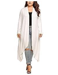 CutyKids Womens Plus Size Cardigans Long Sleeve Drape Asymmetrical Maxi Cardigan
