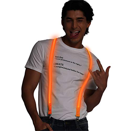 Light up Suspenders USB Rechargeable Led Suspenders Neon Suspenders LED Suspenders for Men & Women (Orange-Non-Rechargeable)]()