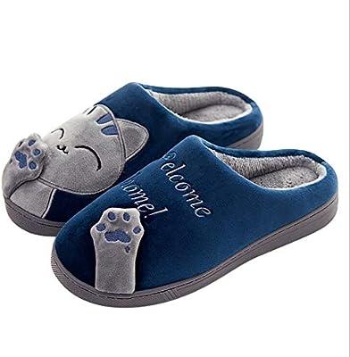 Tukistore Cute Dibujos Animados Gatito Felpa Zapatillas Antideslizantes Zapatos de algodón Suave Exterior en el Interior Zapatillas de Calor para Damas para ...