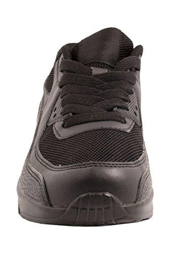 Femme Homme Sneakers Chaussures de sport enfant chaussures de course Runners Profil Semelle turnschuhegroße Tailles, Noir - Noir, 44 EU