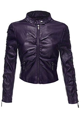 Crinkled Faux Leather Moto Biker Slim Fit Crop Jackets, X-Large, 052-Purple