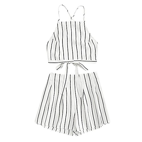 Women Rompers Two Piece Spaghetti Strap Stripe Crop Cami Top with Shorts Outfits Beach Jumpsuit for Teen Girls