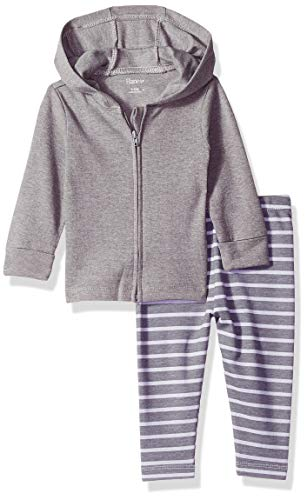 Hanes Ultimate Baby Flexy 2 Piece Set (Pant with Zippin Knit Hoodie), Grey Stripe, 18-24 Months ()