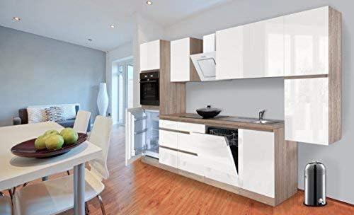 Respekta Premium Senza Maniglia Cucinino Cucina 330 Cm Rovere Sonoma Bianco Lucido Incl Piano Cottura A Induzione Amazon It Grandi Elettrodomestici