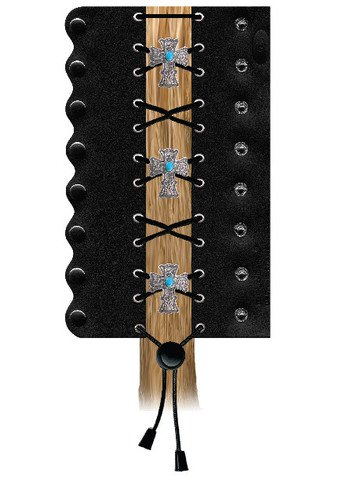 """Hair Glove 4"""" Vintage Cross W/ Turquoise Stone Lace Up Black Leather Tail Holder 31452"""