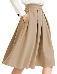 Women's High Waist Flared Skirt Pleated Midi Skirt with...