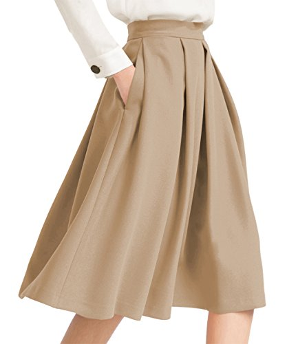 Yige Women's High Waisted A line Skirt Skater Pleated Full Midi Skirt Khaki ()