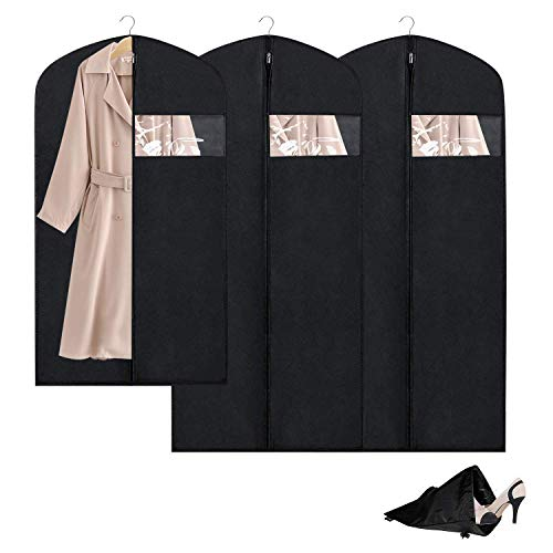 Breathable Garment Bag Clothes Storage Bag Anti-Moth Protector &Dustproof Suit Bag Clear Window Zipper Folding Suits, Tuxedos, Dresses, Coats & More(Set of 3) ()
