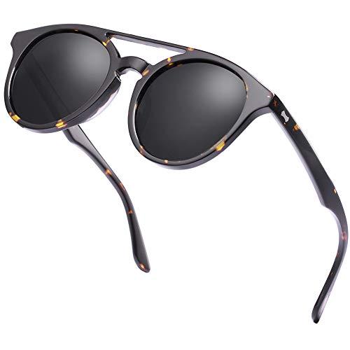 Carfia Double Bridge Round Polarized Sunglasses for Women UV Protection (Carfia Vintage Womens Polarized Sunglasses With Uv400 Protection)