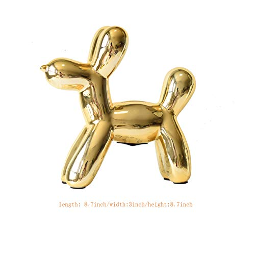 MingHaoyu Balloon Dog Sculpture Ornament Ceramic Home Dcor Accents Piggy Bank,Gold