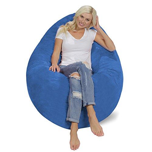 (Chill Sack Bean Bag Chair Pillow: Giant Memory Foam Furniture Bean Bag - Big Sofa Soft Micro Fiber Cover - Royal Blue)