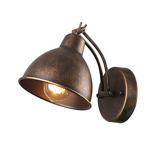 Anmytek Adjustable Swing Wall Lamp Arm Metal Wall Light Sconce with Metal Cover Old Gold Finish Bedroom Reading Lights Industrial Edison Sconce Lighting Fixtures 1-Light (W0042)