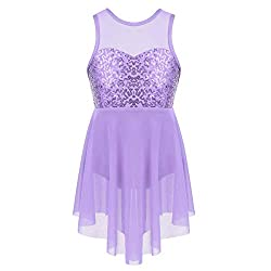 Lavender Sequin Ballet Dancing Leotard With Irregular Hemline