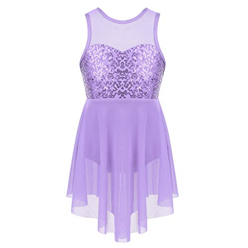 Freebily Kid Girls Floral Sequin Sleeveless Tank Leotard Modern Dance Contemporary Lyrical Dress Dancewear Costume Maxi Skirt Lavender Illusion Sweetheart 14