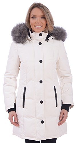 RedX Canada Women's Long Puffer Down Winter Coat With Faux Fur Lined Hood (White, Large) (100 Coat X Of White)