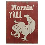 Barnyard Designs Mornin' Y'all' Rooster Retro Vintage Wood Plaque Bar Sign Country Home Decor 15.75'' x 11.75''